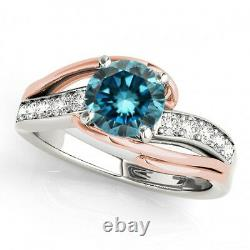 2.25 Carat Blue Diamond Huge Solitaire Bridal Ring 14k White Gold Gorgeous