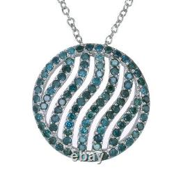 2.25 cttw Blue Diamond Pendant. 925 Sterling Silver With 18 Inch Chain