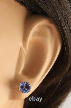 2.30 Carat Natural Tanzanite 14K Yellow Gold Earrings