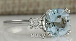 2.33 Carat Natural Aquamarine 14K White Gold Diamond Ring