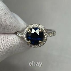 2.35 Carat DEEP Blue Sapphire & Diamond 18k White Gold Halo Ring 8mm Round Cut