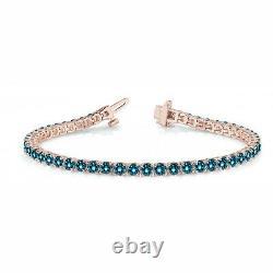 2.43 Carat Blue SI1 Round Diamond In Line Prong Set Bracelet14k RG For Women