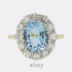 2.50 Carat Santa Maria Aquamarine and Diamond Cluster Ring 18ct Yellow Gold