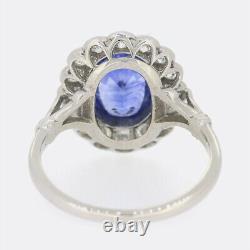2.51 Carat Cornflower Blue Sapphire and Diamond Ring Platinum