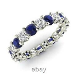 2.54 Carat Diamond Sapphire Engagement Eternity Band 14K Solid White Gold Ring