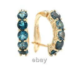 2.60 Carats Natural London Blue Topaz 14k Solid Yellow Gold Huggie Earrings