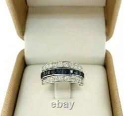 2.75 Carats Blue Sapphire, Ruby & Pave Round Diamond Eternity Reversible Ring