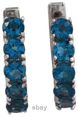 2.80 Carats Natural London Blue Topaz 14k Solid White Gold Huggie Earrings