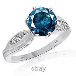 2 Carat Blue 14k White Gold Fancy Solitaire Engagement Ring Fabulous $1679.96