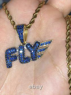 2 Carat Blue Diamond FLY Only Pendant Charm For Mens 14K Yellow Gold Plated