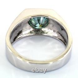 2 Carat Certified Blue Diamond Solitaire Ring in Bezel Style- Great Luster