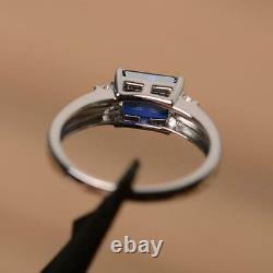 2 Carat Emerald Cut Blue Sapphire Womens Engagement Ring 14K White Gold Finish