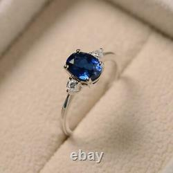 2 Carat Three Stone Oval Cut Blue Sapphire Engagement Ring 14k White Gold Over
