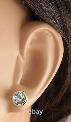 3.00 Carat Natural Aquamarine 14K Yellow Gold Earrings