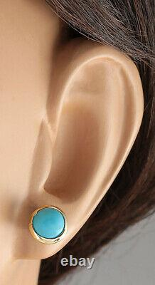 3.00 Carat Natural Turquoise 14K Yellow Gold Earrings
