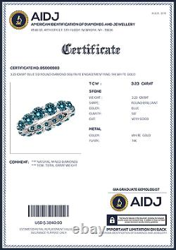 3.23 Carat Blue SI2 Round Diamond Solitaire Engagement Ring 14K White Gold
