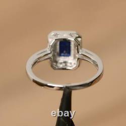 3.40 Carat Emerald Cut Blue Sapphire Halo Engagement Ring 14K White Gold Finish