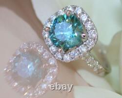 3.42Carat Aqua Blue Round Cut Diamond 14k White Gold Engagement & Wedding Ring