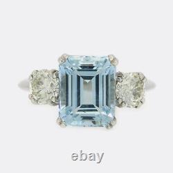 3.48 Carat Aquamarine and Diamond Three Stone Ring Platinum