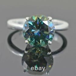 3.50 Carat Certified Blue Diamond Solitaire Ring, Great Shine & Luster