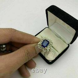 3.50 Carat Emerald Cut Blue Sapphire Halo Engagement Ring 14K Yellow Gold Finish