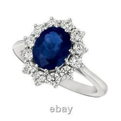 3.55 Carat Natural Oval Sapphire & Diamond Ring 14K White Gold