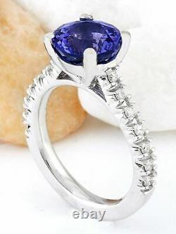 3.81 Carat Natural Tanzanite 14K Solid White Gold Diamond Ring