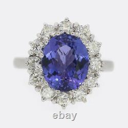 3.98 Carat Tanzanite and Diamond Ring 18ct White Gold