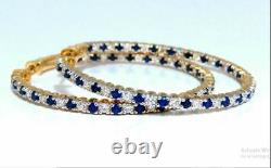 3 Carat Sapphire And Diamond Inside Out Large Hoop Earrings 14K Yellow Gold Over