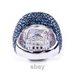 40.22 Carat Ceylon Sapphire White Round CZ Beautiful Engagement 925 Silver Ring