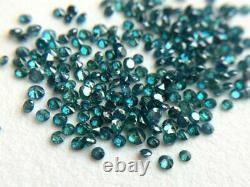 40 Pcs Faceted Blue Brilliant Cut Round Diamonds, 1-2mm Natural Diamond, 1 Carat