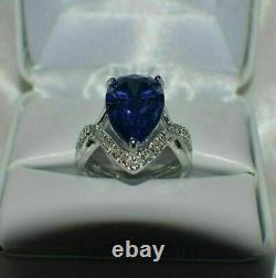 4.00Carat Pear Cut Blue Sapphire & Diamond Engagement Ring 14K White Gold Finish