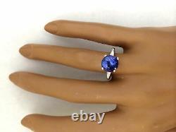 4.00 Carat Natural Tanzanite 14K Solid White Gold Diamond Ring