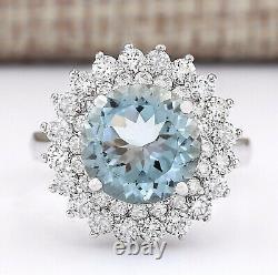 4.25 Carat Natural Aquamarine 14K White Gold Diamond Ring