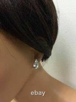 4.25 Carats Natural Aquamarine and Diamond 14K Solid White Gold Stud Earrings