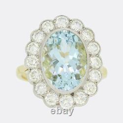 4.50 Carat Aquamarine and Diamond Large Cluster Ring
