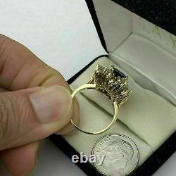 4.50 Carat Emerald Cut Blue Sapphire Halo Engagement Ring 14K Yellow Gold Finish