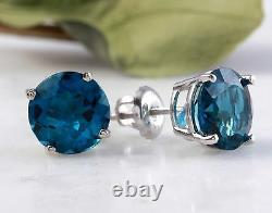 4.50 Carats Natural London Blue Topaz 14K Solid White Gold Stud Earrings