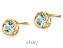 4/5 carat (ctw) Aquamarine Stud Earrings in 14K Yellow Gold