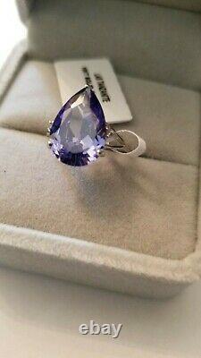 4.70 Carat Lab Tanzanite & (2 Pcs) Diamond 10kt Solid White Gold Ring Size 7