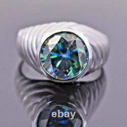4.90 Carat Blue Diamond Men's Heavy Ring in Bezel Style- Excellent Cut & Luster