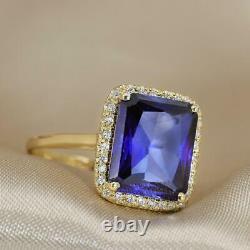 4 Carat Emerald Cut Halo Blue Sapphire Engagement Ring 14k Yellow Gold Finish