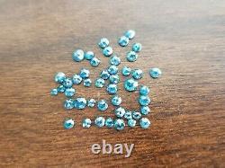 5.07 Carat Lot Natural Loose Diamond Fancy Blue Color Round Rose Cut Diamond