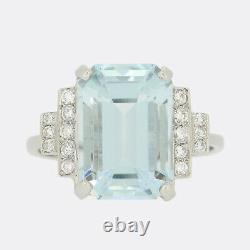 5.10 Carat Emerald Cut Aquamarine and Diamond Ring Platinum