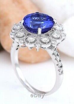 5.18 Carat Natural Tanzanite 14K Solid White Gold Diamond Ring