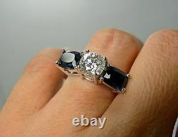 5.20 Carat Diamond and Blue Sapphire Engagement Ring 18K White Gold