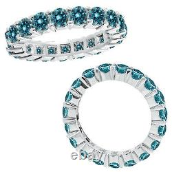5.25 Carat Blue Round Diamond Full Eternity Fancy Engagement Ring 14K White Gold