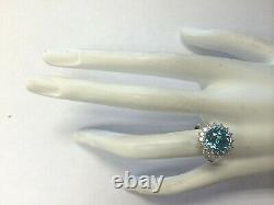 5.72 Carat Natural Zircon 14K White Gold Diamond Ring