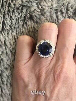 5 Carat Sapphire and Diamond Halo 14K Solid White Gold Ring