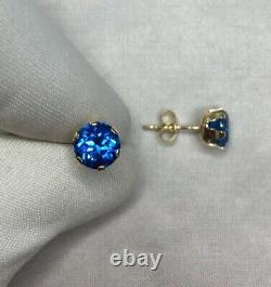 6mm VIVID Blue Natural Topaz Earring Gold Studs Round Diamond Cut 2 Carat